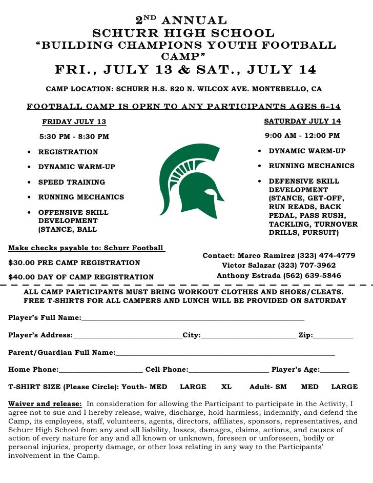 Schurr high school youth football camp for High school football program template