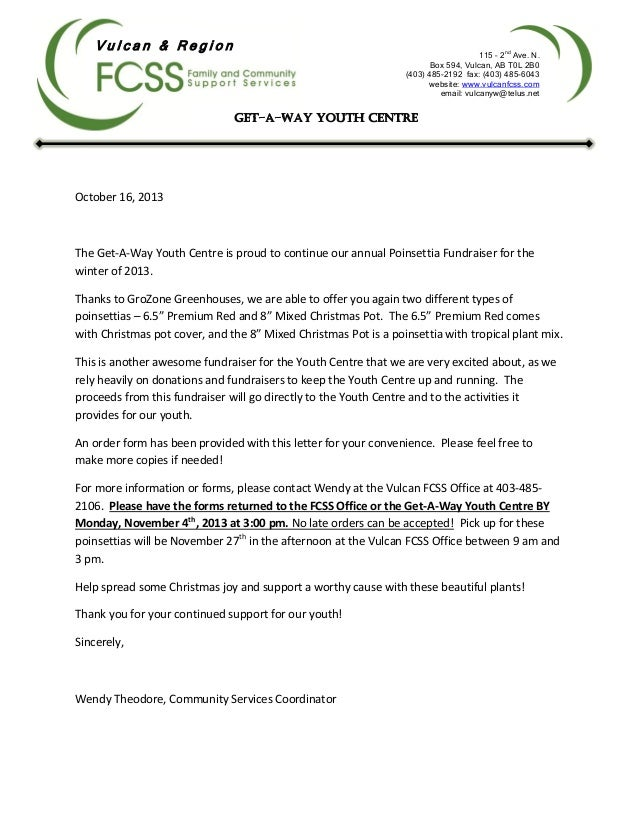 Youth Centre Poinsettia Fundraiser Letter