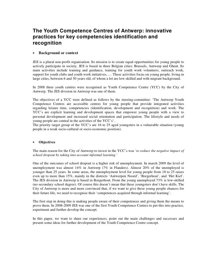 The Youth Competence Centres of Antwerp: innovative practices for key competencies identification and recognition •   Back...