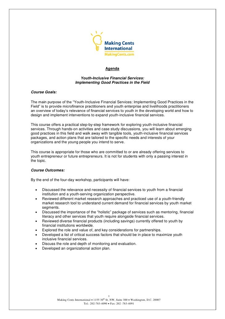 Agenda                                  Youth-Inclusive Financial Services:                               Implementing Goo...
