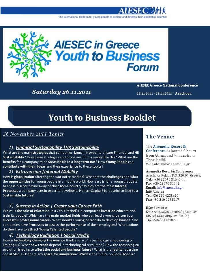 AIESEC Greece National Conference                   Saturday 26.11.2011                                                   ...