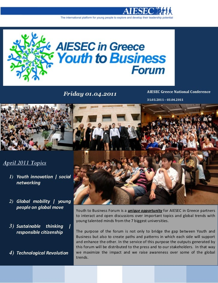AIESEC Greece National Conference                               Friday 01.04.2011                                         ...