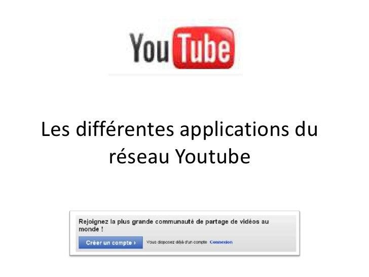 Les différentes applications du réseau Youtube<br />