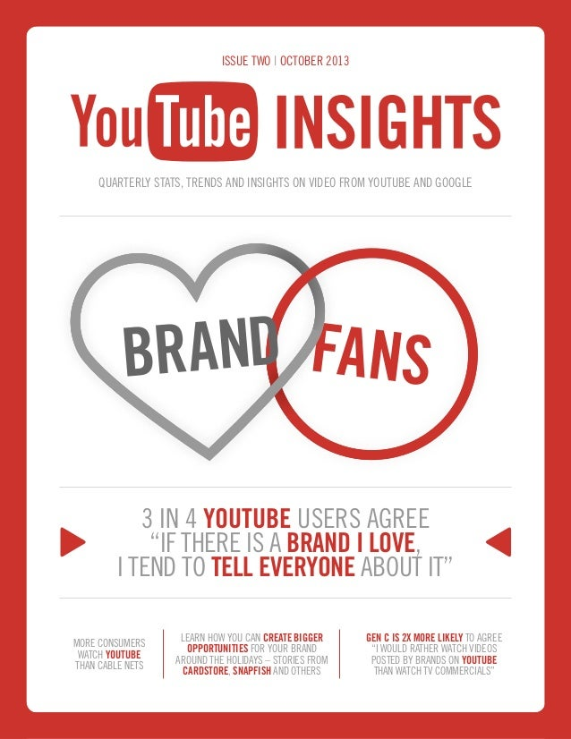 ISSUE TWO | OCTOBER 2013  Quarterly Stats, Trends and Insights on Video from YouTube and Google  BRAND FANS 3 IN 4 YOUTUBE...