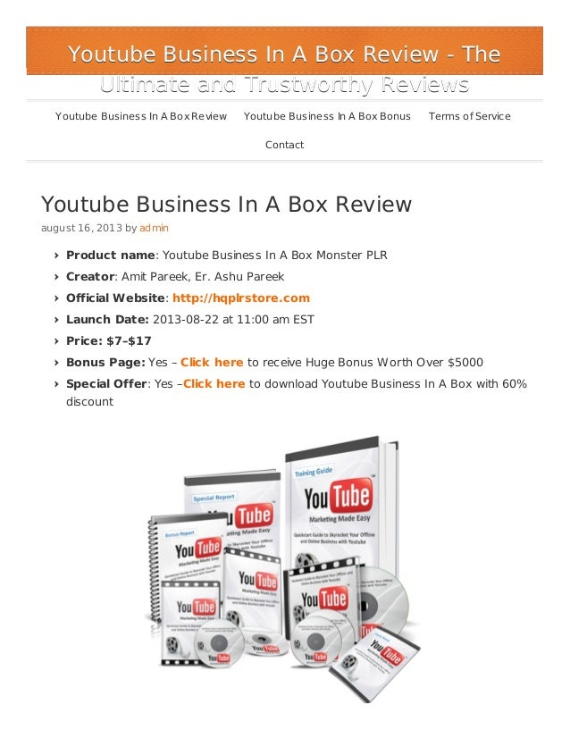 Youtube Business In a Box Review - Huge Bonus $5000