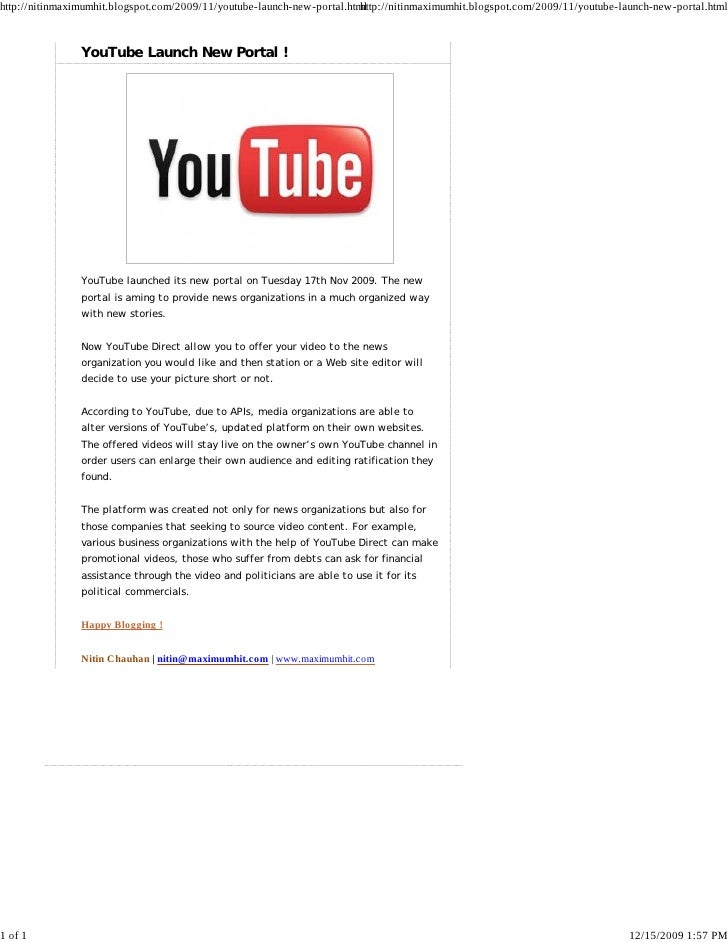 You Tube Launch New Portal