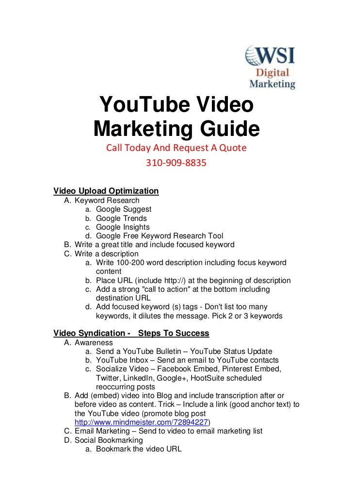 YouTube Video          Marketing Guide              Call Today And Request A Quote                       310-909-8835Video...