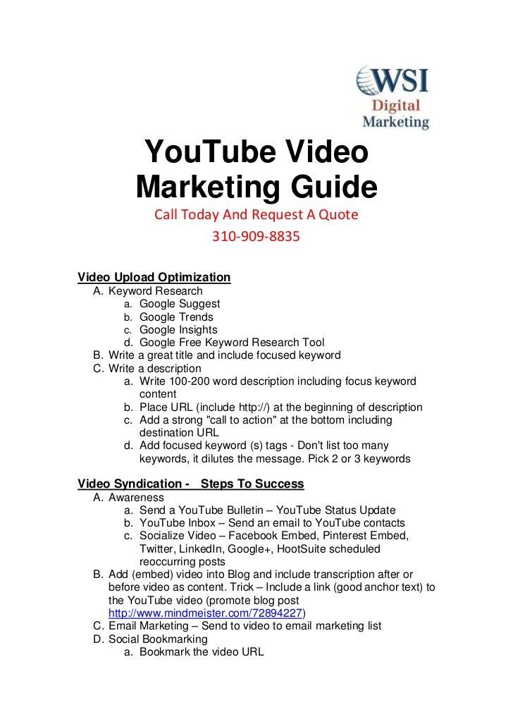 YouTube Video Marketing Training Resource Guide