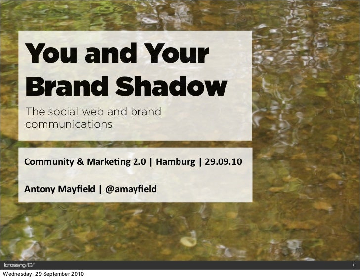 You and Your        Brand Shadow        The social web and brand        communications          Community	   &	   Marke0ng...