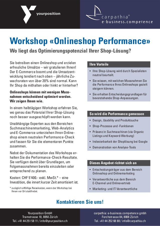 Workshop «Onlineshop Performance» von Yourposition und carpathia