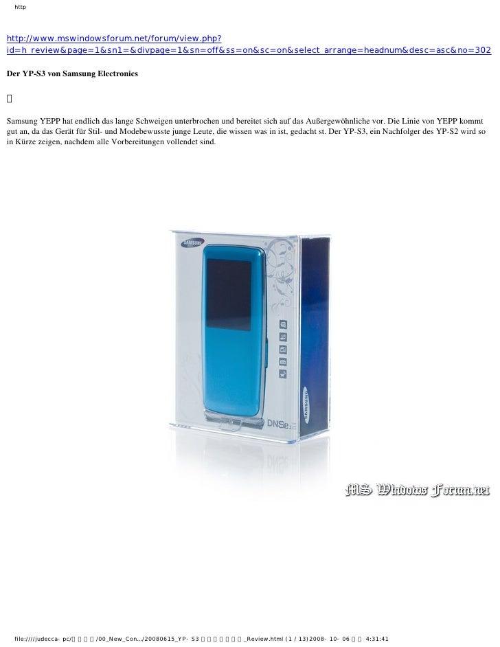 Samsung mp3 YP-S3