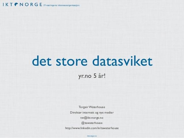 IT-næringens interesseorganisasjondet store datasviket                                  yr.no 5 år!                       ...