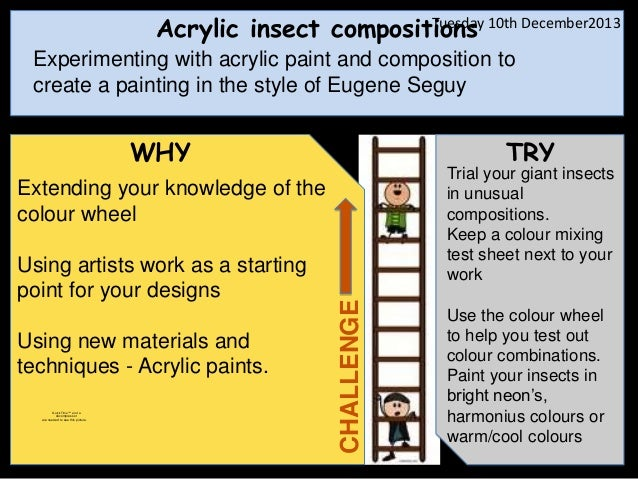 Tuesday Acrylic insect compositions 10th December2013  Experimenting with acrylic paint and composition to create a painti...