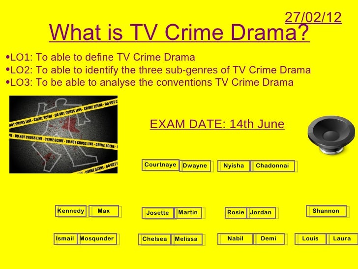 27/02/12         What is TV Crime Drama?•LO1: To able to define TV Crime Drama•LO2: To able to identify the three sub-genr...