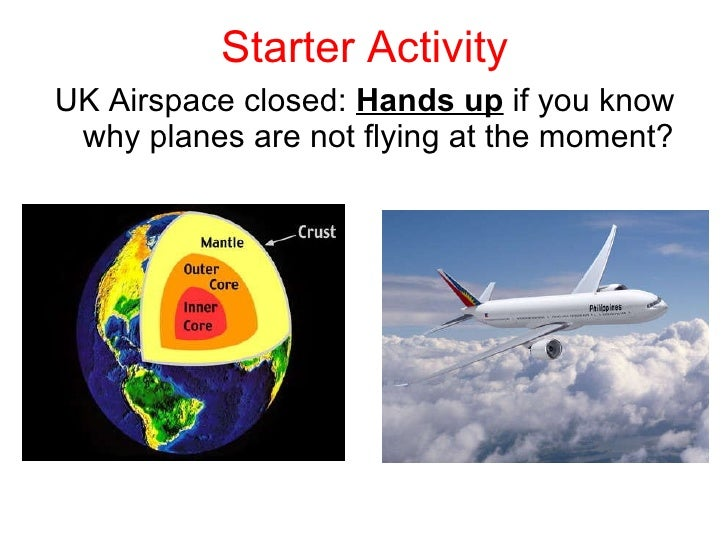 Starter Activity <ul><li>UK Airspace closed:  Hands up  if you know why planes are not flying at the moment? </li></ul>