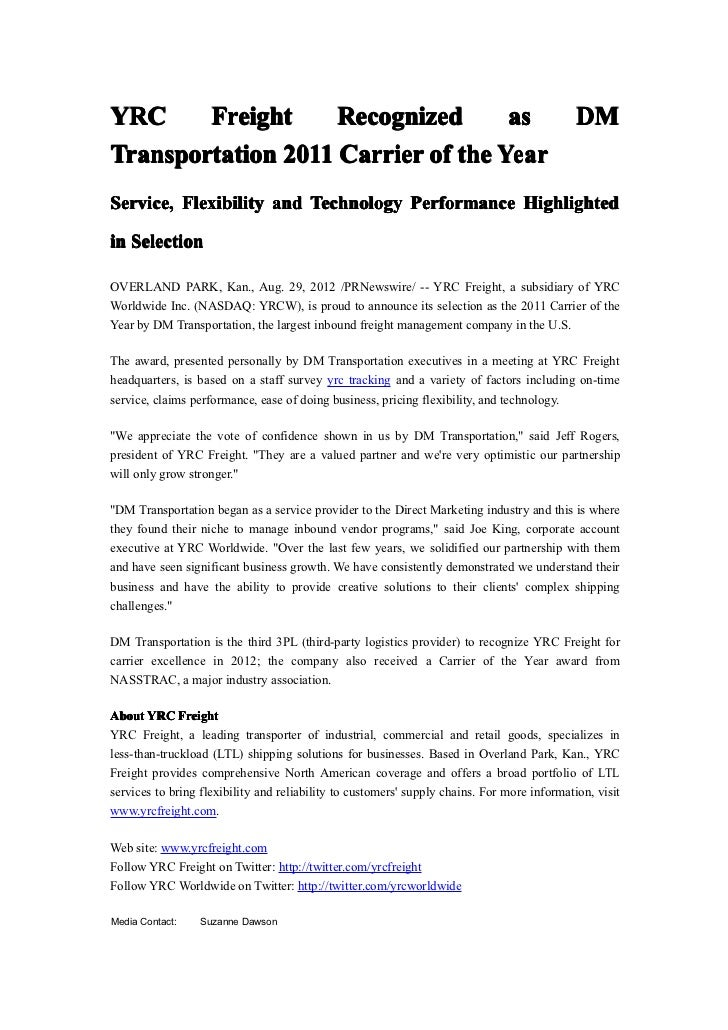 YRC     Freight     Recognized      as                                                       DMTransportation 2011 Carrier...