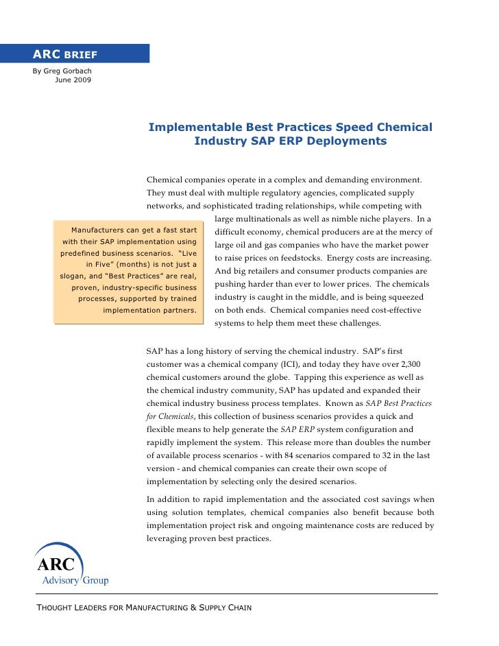 ARC BRIEFBy Greg Gorbach      June 2009                              Implementable Best Practices Speed Chemical          ...