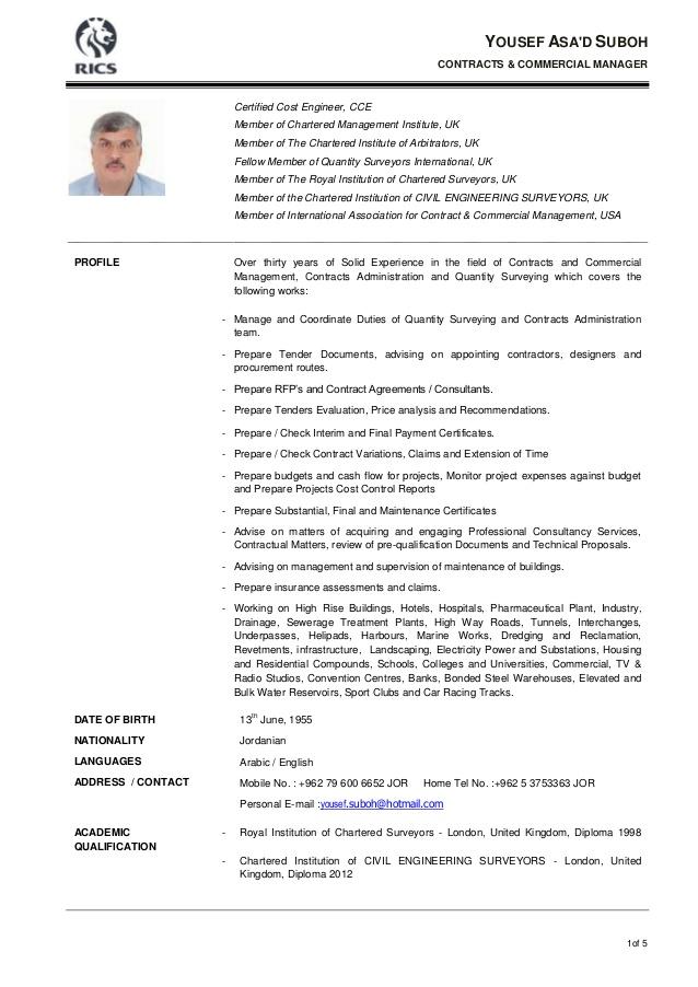 quantity surveyor cv example learnist org pinterest quantity surveyor resume