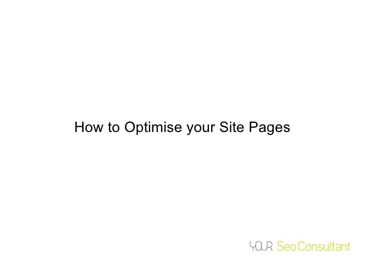 How to Optimise your Site Pages