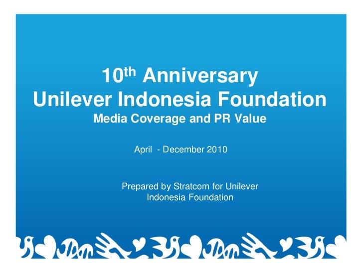 10th AnniversaryUnilever Indonesia Foundation     Media Coverage and PR Value            April - December 2010         Pre...