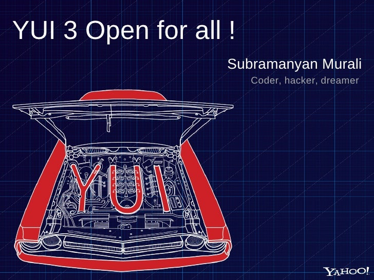 YUI 3 Open for all ! <ul><li>Subramanyan Murali </li></ul><ul><li>Coder, hacker, dreamer  </li></ul>