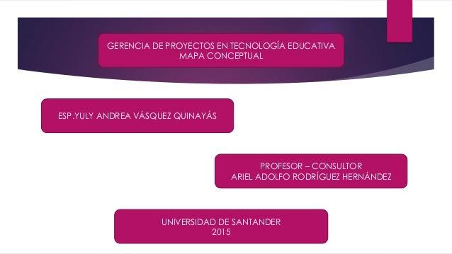 GERENCIA DE PROYECTOS EN TECNOLOGÍA EDUCATIVA MAPA CONCEPTUAL PROFESOR – CONSULTOR ARIEL ADOLFO RODRÍGUEZ HERNÁNDEZ ESP.YU...