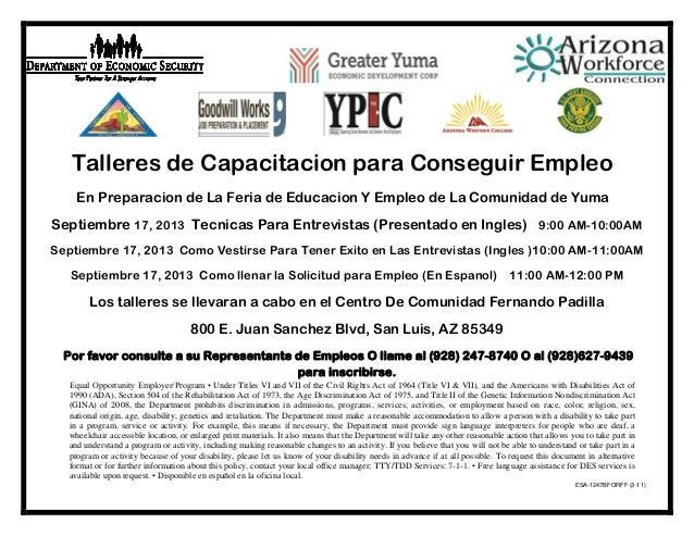 Yuma Community Job Fair Workshop Schedule San Luis Spanish