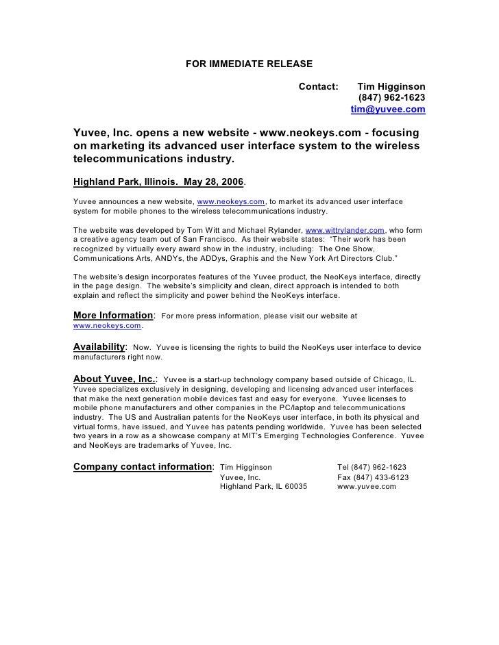 Yuvee press release 2006.1 announcing launch of www.neokeys.com