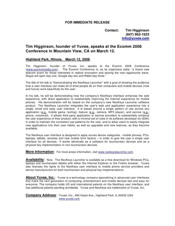 Yuvee press release 2008.4 Tim Higginson of Yuvee Speaks at Ecomm Conference