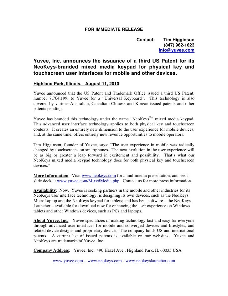 Yuvee press release 2010.3 announcing issuance of third us patent on mobile touchscreen and physical key user interface technology