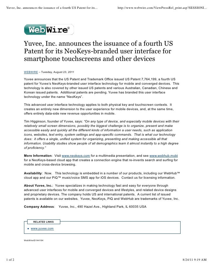 Yuvee, Inc. announces the issuance of a fourth US Patent for its...         http://www.webwire.com/ViewPressRel_print.asp?...