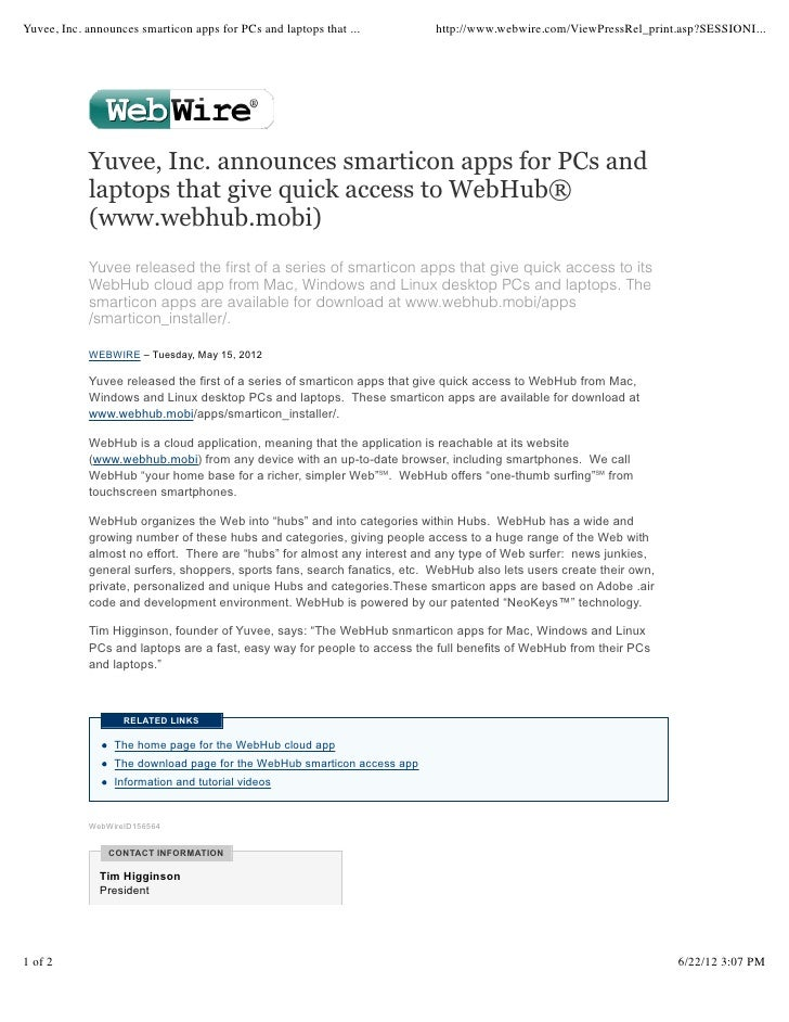 Yuvee press release 2012.1 announcing smarticon apps for pcs and laptops that give quick access to WebHub® (www.webhub.mobi)