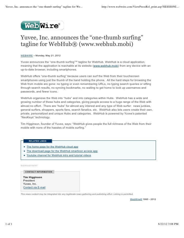 """Yuvee, Inc. announces the """"one-thumb surfing"""" tagline for We...                                http://www.webwire.com/ViewP..."""