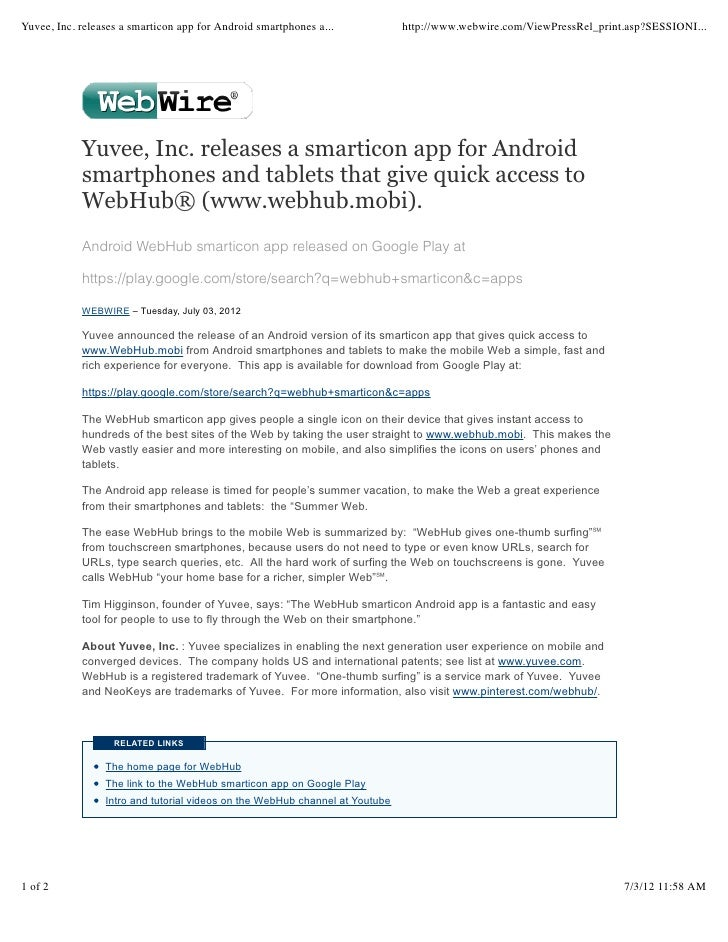 Yuvee, Inc. releases a smarticon app for Android smartphones a...             http://www.webwire.com/ViewPressRel_print.as...