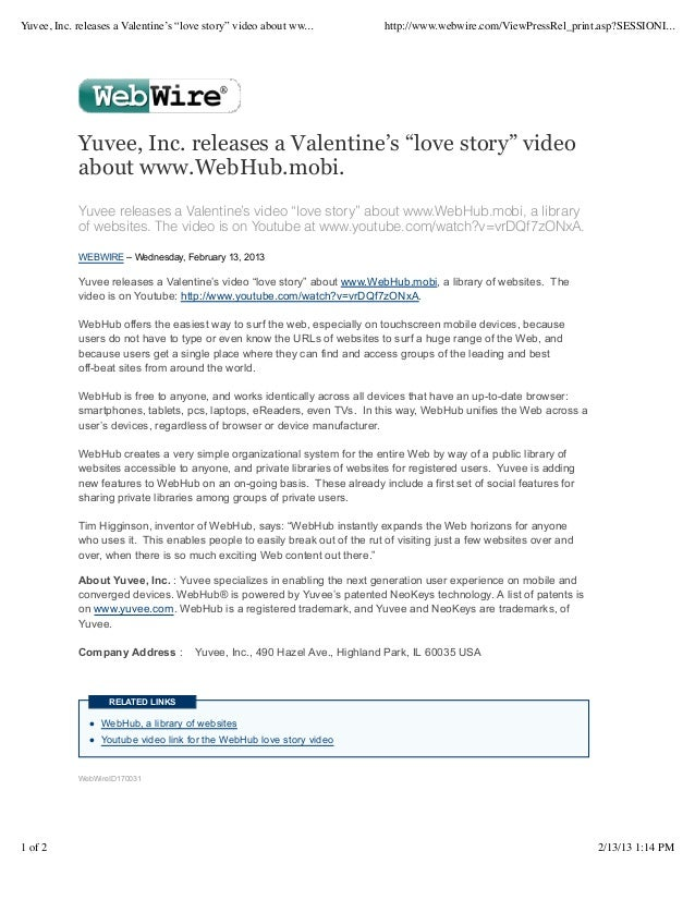 "Yuvee, Inc. releases a Valentine's ""love story"" video about ww...           http://www.webwire.com/ViewPressRel_print.asp?..."