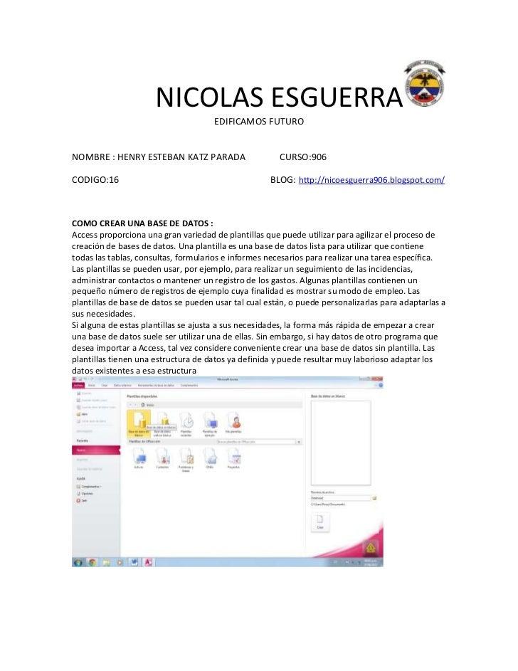 NICOLAS ESGUERRA                                      EDIFICAMOS FUTURONOMBRE : HENRY ESTEBAN KATZ PARADA                 ...