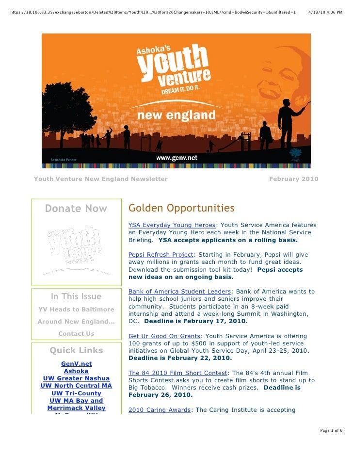 YV NE February 2010 Newsletter