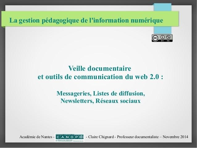 La gestion pédagogique de l'information numérique  Veille documentaire  et outils de communication du web 2.0 :  Messageri...