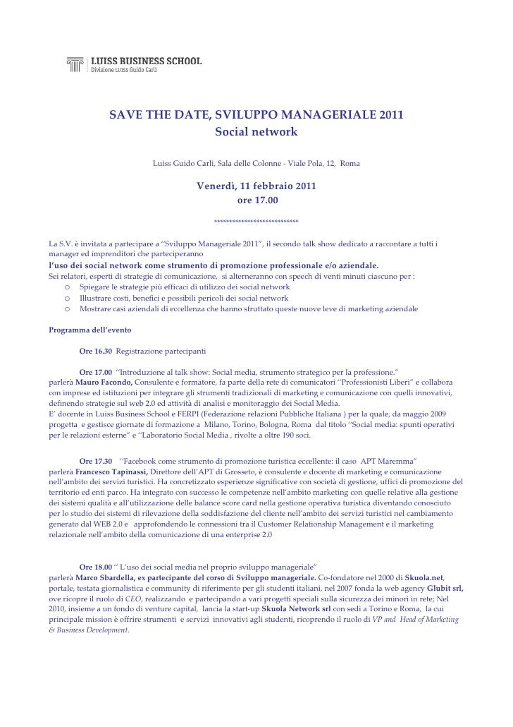 SAVE THE DATE, SVILUPPO MANAGERIALE 2011                                 Social network                               Luis...