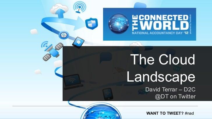 The CloudLandscape  David Terrar – D2C     @DT on Twitter  WANT TO TWEET? #nad