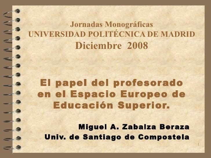 El Papel del Profesorado. M. Ángel Zabalza