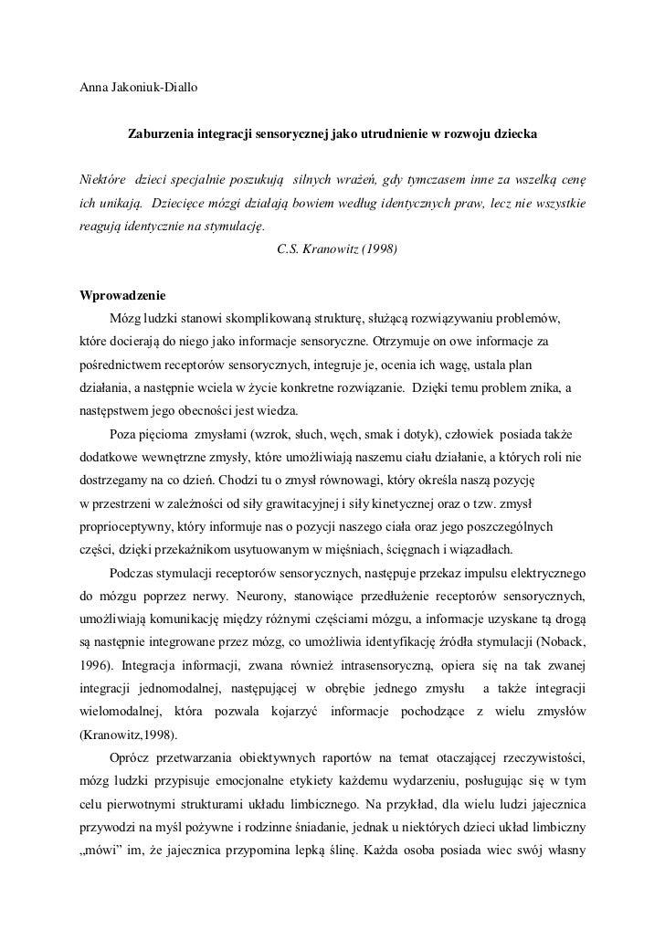 Anna Jakoniuk-Diallo         Zaburzenia integracji sensorycznej jako utrudnienie w rozwoju dzieckaNiektóre dzieci specjaln...