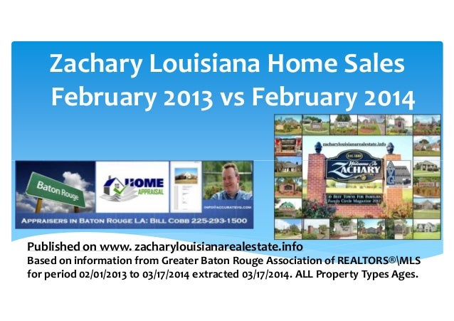 Zachary Louisiana Home Appraiser Reports Home Sales and Prices February 2013 vs 2014