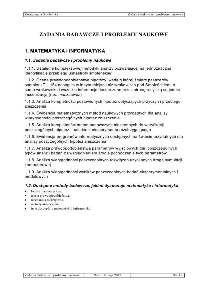 Konferencja Smoleńska                                                Zadania badawcze i problemy naukowe         ZADANIA B...