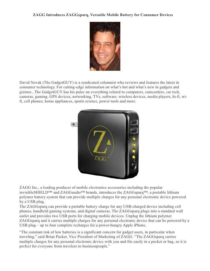ZAGG Introduces ZAGGsparq Versatile Mobile Battery For Consumer Devices- David Novak (The Gadget Guy)
