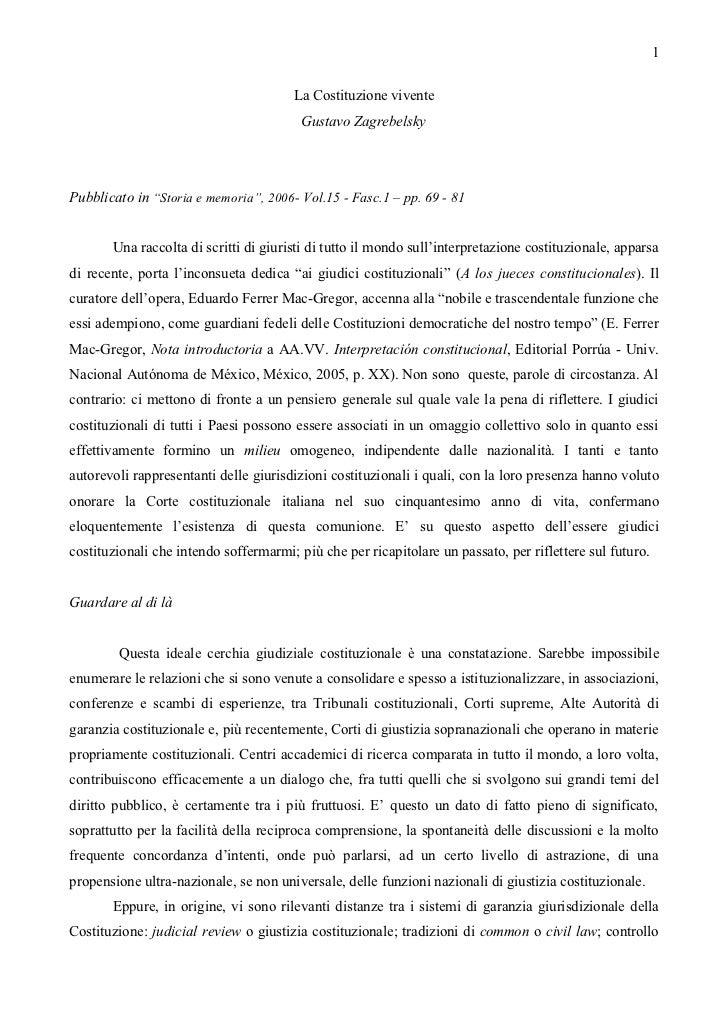 1                                       La Costituzione vivente                                         Gustavo Zagrebelsk...