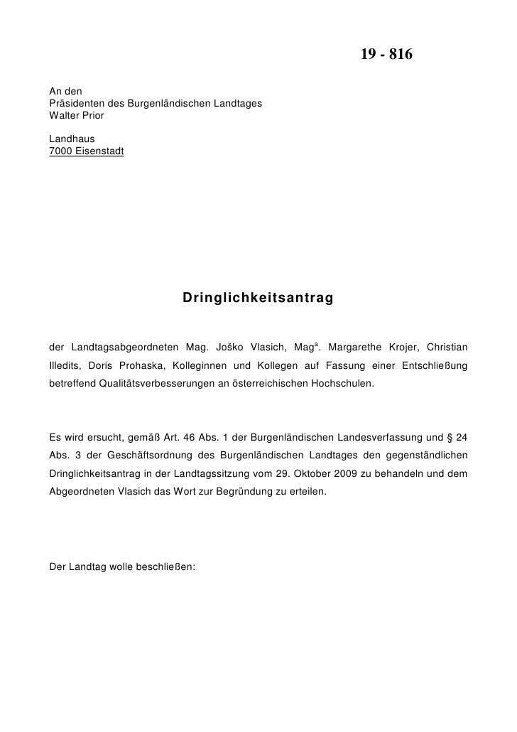 19 - 816  An den Präsidenten des Burgenländischen Landtages Walter Prior  Landhaus 7000 Eisenstadt                        ...
