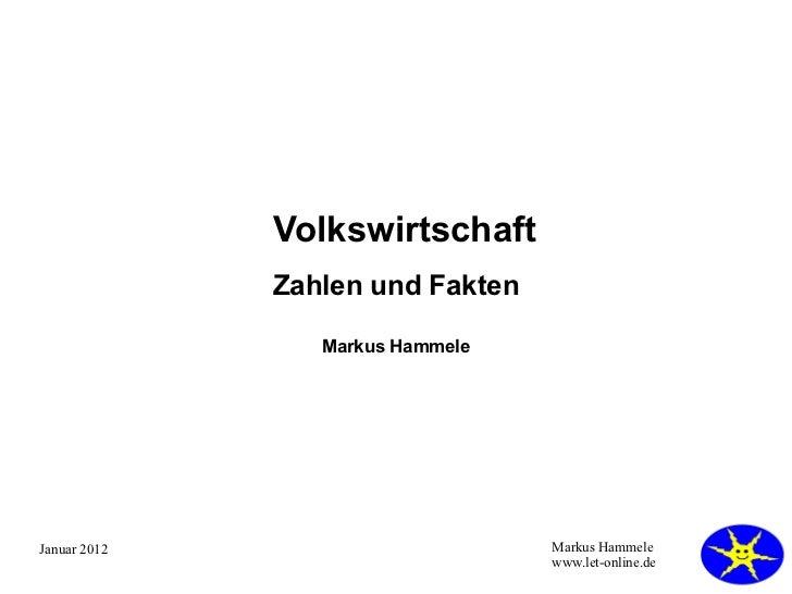 Volkswirtschaft Zahlen und Fakten Markus Hammele