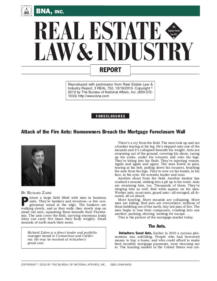 A        BNA, INC.       REAL ESTATE !       LAW & INDUSTRY                               REPORT                          ...