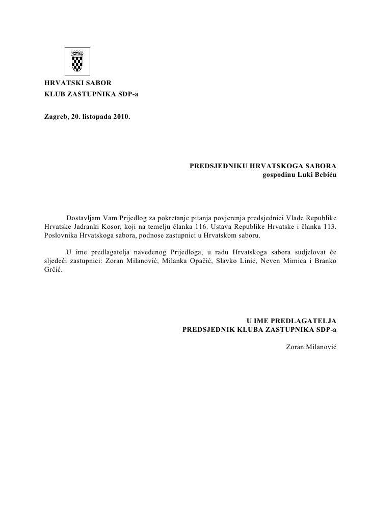 Zahtjev za izglasavanjem nepovjerenja predsjednici vlade jadranki kosor